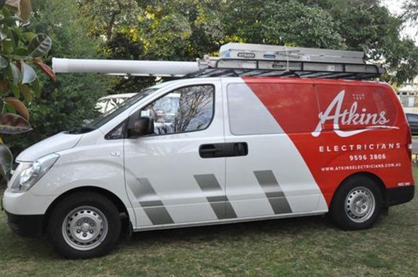 Atkins electricians work van.